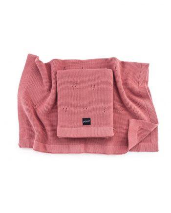 pamučna pletena dekica za bebe - poofi paris- rose